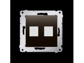 Krytka teleinformačních zásuviek na Keystone plochá dvojitá hnedá matná