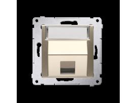 Krytka teleinformačních zásuviek na Keystone jednoduchá šikmá s popisným poľom zlatá matná