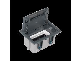 Podlahová krabica SF obdĺžnikový 2×K45 1×S500 93mm128mm sivá