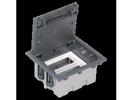 Podlahová krabica SF obdĺžnikový 4×K45 2×S500 93mm128mm sivá