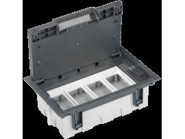 Podlahová krabica SF obdĺžnikový 8×K45 4×S500 93mm128mm sivá