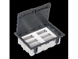 Podlahová krabica SF obdĺžnikový 12×K45 6×S500 93mm128mm sivá
