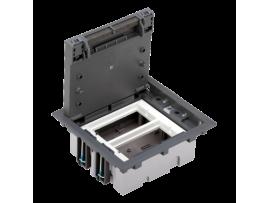 Podlahová krabica SF obdĺžnikový 4×K45 2×S500 70mm105mm sivá