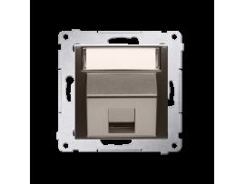 Krytka teleinformačních zásuviek na Keystone jednoduchá šikmá s popisným poľom hnedá matná