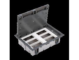 Podlahová krabica SF obdĺžnikový 12×K45 6×S500 70mm105mm sivá