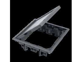 Podlahová krabica FB štvorcová 12×K45 5mm so zámkom sivá 85mm116mm :IK08