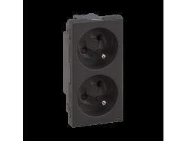 Dvojzásuvka SIMON 500 s uzemňovacím kolíkom 16A 250V pružinové svorky/nožový 100×50mm grafitovo-sivá