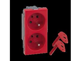Dvojzásuvka SIMON 500 DATA s uzemňovacím kolíkom 16A 250V pružinové svorky/skrutkové svorky 100×50mm červený