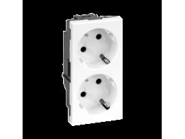 Dvojzásuvka SIMON 500 SCHUKO 16A 250V pružinové svorky/nožový 100×50mm čisto biela