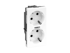 Dvojzásuvka SIMON 500 SCHUKO s napäťovou signalizáciou 16A 250V pružinové svorky/nožový 100×50mm čisto biela