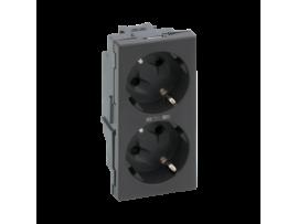 Dvojzásuvka SIMON 500 SCHUKO s napäťovou signalizáciou 16A 250V pružinové svorky/skrutkové svorky 100×50mm grafitovo-sivá