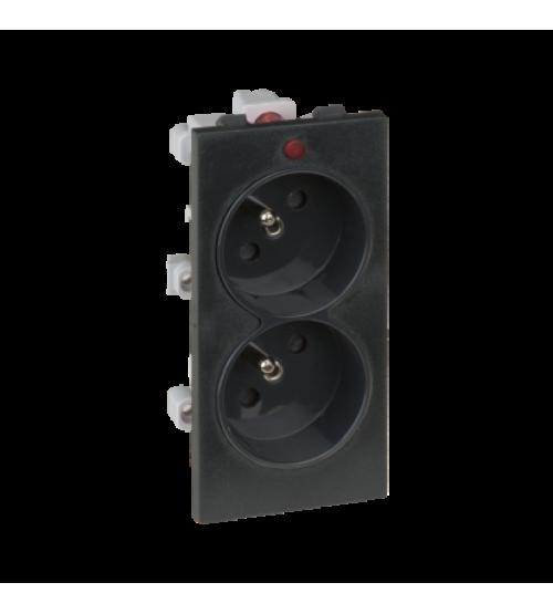 Dvojzásuvka CIMA s uzemňovacím kolíkom s napäťovou signalizáciou 16A 250V skrutkové svorky 108×52mm grafitovo-sivá