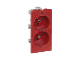 Dvojzásuvka CIMA s uzemňovacím kolíkom s napäťovou signalizáciou 16A 250V skrutkové svorky 108×52mm červený