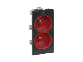 Dvojzásuvka CIMA s uzemňovacím kolíkom s napäťovou signalizáciou 16A 250V skrutkové svorky 108×52mm červený grafitovo-sivá