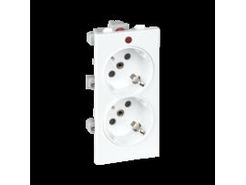 Dvojzásuvka CIMA SCHUKO s napäťovou signalizáciou 16A 250V skrutkové svorky 108×52mm čisto biela