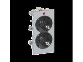 Dvojzásuvka CIMA SCHUKO s napäťovou signalizáciou 16A 250V skrutkové svorky 108×52mm hliník grafitovo-sivá