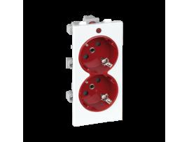 Dvojzásuvka CIMA SCHUKO s napäťovou signalizáciou 16A 250V skrutkové svorky 108×52mm červený čisto biela