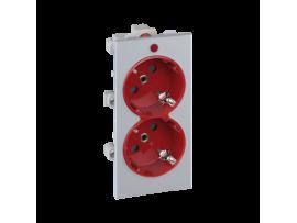 Dvojzásuvka CIMA SCHUKO s napäťovou signalizáciou 16A 250V skrutkové svorky 108×52mm hliník červený