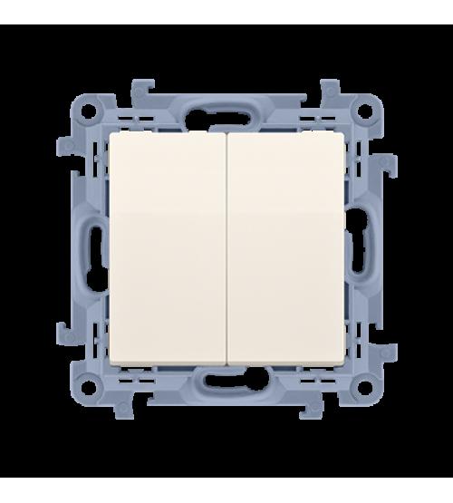 Striedavý prepínač dvojitý s podsvietením LED, radenie č. 6+6 So bez piktogramu krémová 10AX