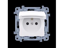 Jednoduchá zásuvka s krytím IP44 - tesnenie - klapka vo farbe krytu biela 16A