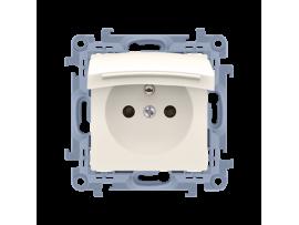 Jednoduchá zásuvka s krytím IP44 - tesnenie - klapka vo farbe krytu krémová 16A