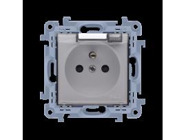 Jedno zásuvka s krytím IP44  - bez tesnenia - transparentná klapka biela 16A