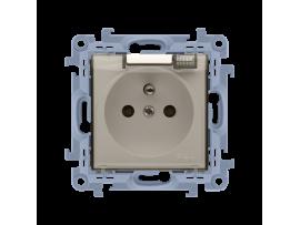 Jedno zásuvka s krytím IP44 - s clonkami bez tesnenia - transparentná klapka krémová 16A