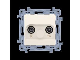 Anténová zásuvka R-TV koncová oddelená tlm.:1dB krémová