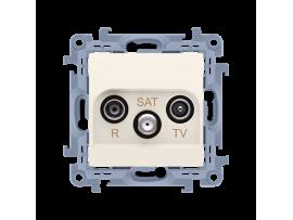 Anténná zásuvka R-TV-SAT priechodná tlm.:10dB krémová