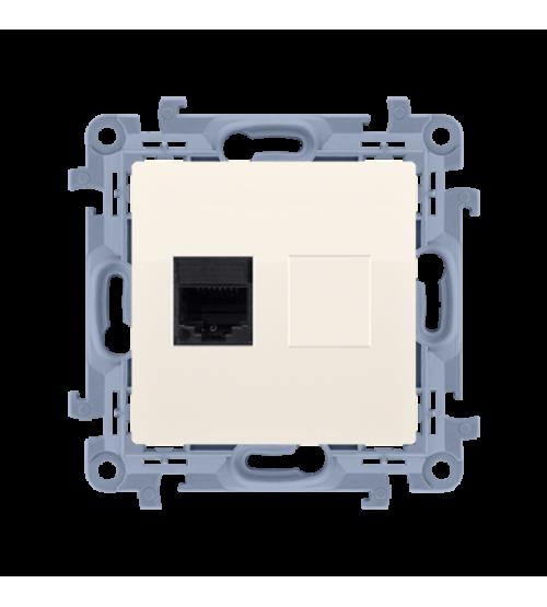 Počítačová zásuvka jednoduchá RJ45 kategórie 6 krémová