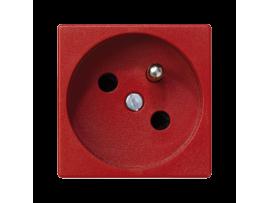 Zásuvka K45 s uzemňovacím kolíkom 16A 250V pružinové svorky 45×45mm červený