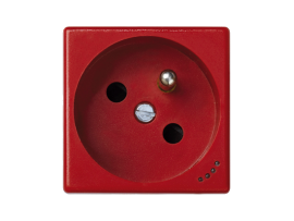 Zásuvka K45 s uzemňovacím kolíkom s napäťovou signalizáciou 16A 250V skrutkové svorky 45×45mm červený