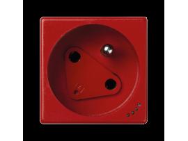 Zásuvka K45 DATA s uzemňovacím kolíkom s napäťovou signalizáciou 16A 250V skrutkové svorky 45×45mm červený