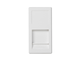 Kryt dátovej zásuvky K45 keystone jednotlivý plocha univerzálny s krytom 45×22,5mm čisto biela