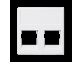 Kryt dátovej zásuvky K45 keystone dvojitý bez krytu plocha univerzálny 45×45mm čisto biela