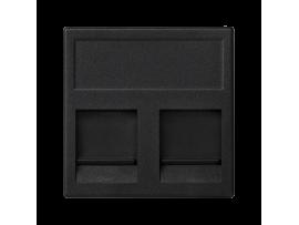 Kryt dátovej zásuvky K45 BELGENCDT dvojitý plocha s krytama 45×45mm grafitovo-sivá