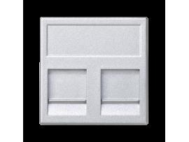 Kryt dátovej zásuvky K45 keystone dvojitý plocha univerzálny s krytama 45×45mm hliník