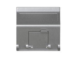 Kryt dátovej zásuvky K45 pre adaptéry MD jednotlivý šikmá s krytama 45×45mm hliník