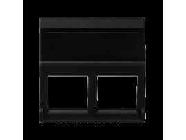 Kryt dátovej zásuvky K45 pre adaptéry MD dvojitý bez krytu šikmá 45×45mm grafitovo-sivá
