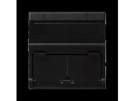 Kryt dátovej zásuvky K45 pre adaptéry MD dvojitý šikmá s krytama 45×45mm grafitovo-sivá