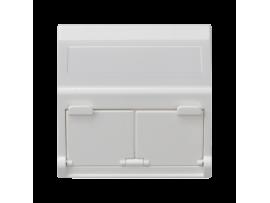Kryt dátovej zásuvky K45 pre adaptéry MD dvojitý šikmá s krytama 45×45mm čisto biela