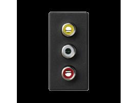 Kryt K45 spojka 3× RCA (CINCH) 45×22,5mm grafitovo-sivá