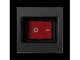 Dvojpólový spínač, radenie č. 2S K45 so signalizáciou zopnutia farba: červený 16AX 250V 45×45mm grafitovo-sivá