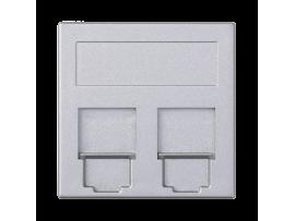 Kryt dátovej zásuvky SIMON 500 keystone dvojitý plocha univerzálny s krytama 50×50mm hliník