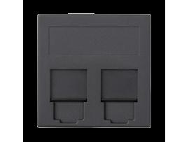 Kryt dátovej zásuvky SIMON 500 BELGENCDT dvojitý plocha s krytama 50×50mm grafitovo-sivá