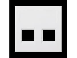 Kryt dátovej zásuvky SIMON 500 keystone dvojitý bez krytu plocha univerzálny 50×50mm čisto biela