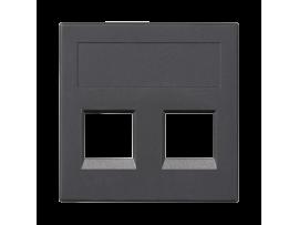 Kryt dátovej zásuvky SIMON 500 keystone dvojitý bez krytu plocha univerzálny 50×50mm grafitovo-sivá
