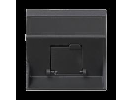 Kryt dátovej zásuvky SIMON 500 pre adaptéry MD jednotlivý šikmá s krytom 50×50mm grafitovo-sivá