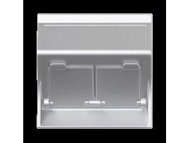 Kryt dátovej zásuvky SIMON 500 pre adaptéry MD dvojitý šikmá s krytama 50×50mm hliník
