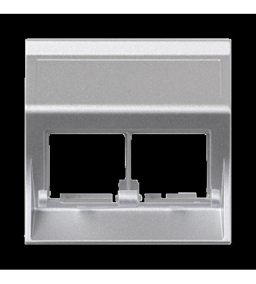 Kryt dátovej zásuvky SIMON 500 pre adaptéry MD dvojitý bez krytu šikmá 50×50mm hliník